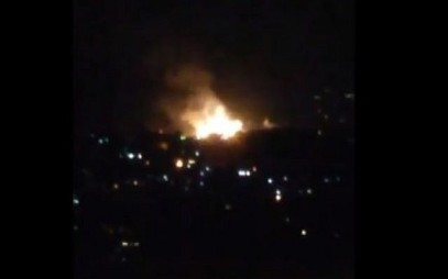 Illustrative: Explosions seen near Damascus on July 1, 2019, during a purported Israeli airstrike. (Screen capture/Twitter)