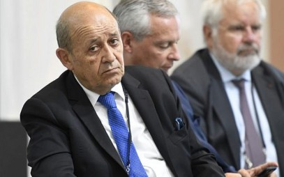 French Foreign Affairs Minister Jean-Yves Le Drian attends a French president's press conference in Biarritz, southwest France on August 26, 2019, on the third day of the annual G7 Summit attended by the leaders of the world's seven richest democracies, Britain, Canada, France, Germany, Italy, Japan and the United States. (Photo by Bertrand GUAY / AFP)