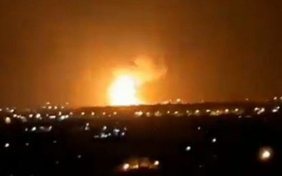 Explosions seen in the Gaza Strip after a reported IDF Strike in response to rocket fire on Ashdod and Ashkelon on September 11, 2019 (Screencapture/Twitter)