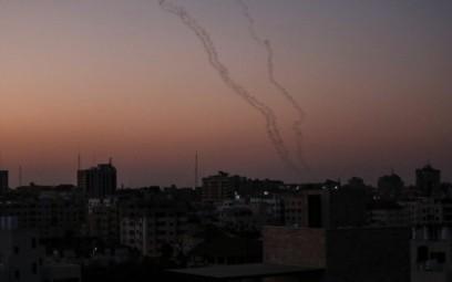 Palestinians fire rockets from Gaza City toward Israel on November 12, 2019. (Photo by MAHMUD HAMS / AFP)