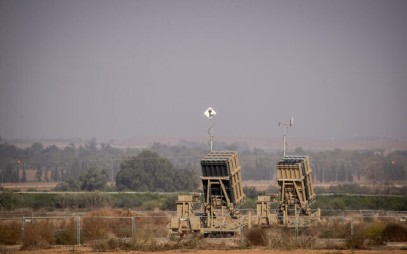 An Iron Dome battery missile set up in Sderot, Southern Israel, near the border with neighbouring Palestinian Gaza Strip on November 13, 2019. (Yonatan Sindel/Flash90 )