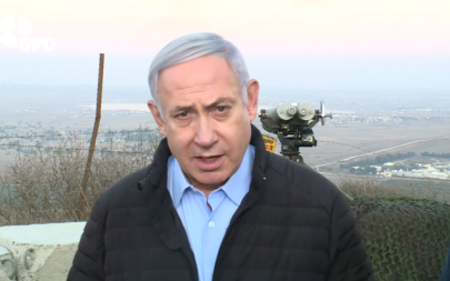 Prime Minister Benjamin Netanyahu tours the northern border on November 24, 2019. (YouTube screen capture)