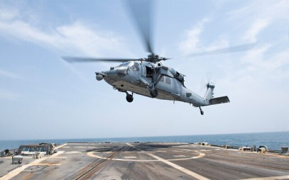 A US military helicopter takes off from the flight deck of the Arleigh  destroyer USS Mason in the Persian Gulf, May 22, 2019. (U.S. Navy photo by Mass Communication Specialist 3rd Class Lasheba James/Released)