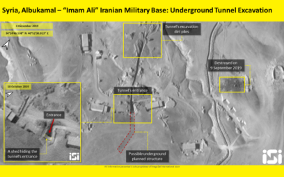 Satellite images showing an alleged Iranian tunnel on a military base near the border crossing in Syria's Boukamal region, near the Iraqi border, on December 10, 2019. (ImageSat International)