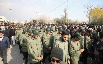 Members of Iran's Islamic Revolutionary Guard Corps take part in a demonstration in Tehran on January 3, 2020, following the killing of IRGC Quds Force commander Qassem Soleimani in a US strike on his convoy at Baghdad international airport. (Atta Kenare/AFP)