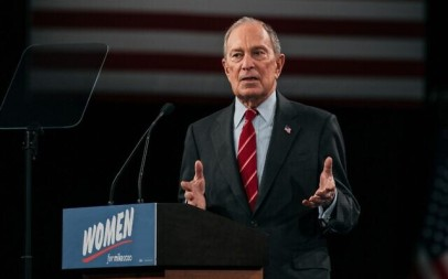 Democratic presidential candidate Mike Bloomberg speaks at a rally in New York City, January 15, 2020. (Scott Heins/Getty Images via JTA)