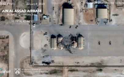 This satellite image provided on January 8, 2020, by Middlebury Institute of International Studies and Planet Labs Inc. shows the damage caused from an Iranian missile strike at the Ain al-Asad air base in Iraq. (Planet Labs Inc./Middlebury Institute of International Studies via AP)