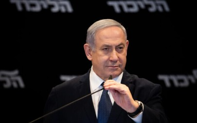 Prime Minister Benjamin Netanyahu speaks during press conference at the Orient Hotel in Jerusalem on January 1, 2020. (Yonatan Sindel/Flash90)