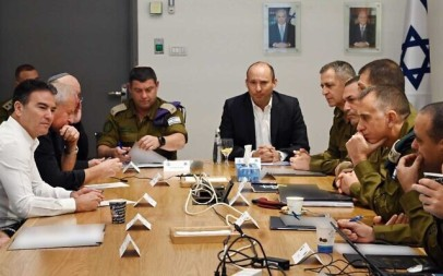 Defense Minister Naftali Bennett (C) and security chiefs during a situational assessment at the Kirya military headquarters in Tel Aviv on January 3, 2020. (Ariel Hermoni/Ministry of Defense)
