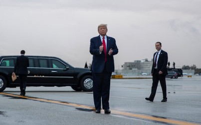 US President Donald Trump arrives at Miami International Airport en route to attend the Republican National Committee winter meetings, January 23, 2020. (AP/Evan Vucci)