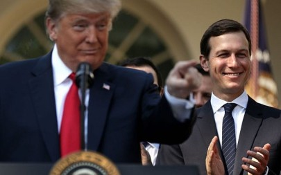 Jared Kushner (R) joins US President Donald Trump as he holds a press conference in the Rose Garden of the White House on October 1, 2018. (Chip Somodevilla/Getty Images via JTA)