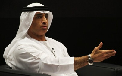 Emirati Ambassador to the US Yousef al-Otaiba at an event with then-US House Speaker Paul Ryan, at the Emirates Diplomatic Academy, in Abu Dhabi, United Arab Emirates, Jan. 25, 2018. (AP Photo/Jon Gambrell)