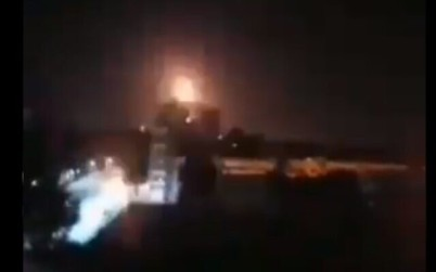 An explosion seen near the city of Homs in Syria attributed to ISraeli airstrikes on March 5 2020 (Screencapture/Twitter)