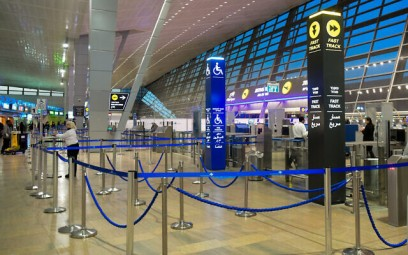 The empty departure halls of Ben Gurion Airport on March 8, 2020. (Flash90)