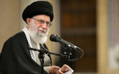 In this picture released by the official website of the office of the Iranian supreme leader, Supreme Leader Ayatollah Ali Khamenei speaks to a group of residents of the city of Qom, in Tehran, Iran, January 8, 2020. (Office of the Iranian Supreme Leader via AP)