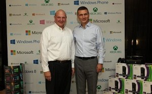Microsoft CEO Steve Ballmer (left) on stage with MS Israel CEO Danny Yamin (photo credit: Chen Galili, Shilopro)