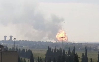 An explosion is seen following an alleged Israeli attack on a Hezbollah arms cache near Homs in central Syria on May 1, 2020. (Screen capture: Twitter)