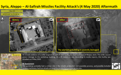 Satellite images purporting to show the damage to a missile factory outside Aleppo, Syria caused by airstrikes attributed to Israel on May 4, which were released on May 7, 2020. (ImageSat International)