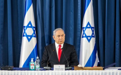 Prime Minister Benjamin Netanyahu chairs the weekly cabinet meeting in Jerusalem on June 7, 2020. (Marc Israel Sellem/POOL)