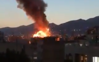 The explosion at a health clinic in Tehran, Iran, on June 30, 2020. (Screen capture: Twitter)
