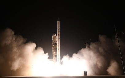 Israel's Ofek-16 reconnaissance satellite takes off from central Israel on July 6, 2020. (Defense Ministry)