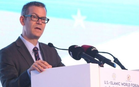 Colin Kahl, delivers a speech during a panel discussion as part of the US-Islamic World Forum in the Qatari capital Doha on June 1, 2015. (AFP via Getty Images)