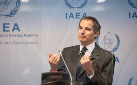 Rafael Grossi, director general of the International Atomic Energy Agency (IAEA), during a press conference at the agency's headquarters in Vienna, Austria on May 24, 2021. (ALEX HALADA / AFP)