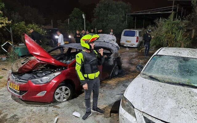 The scene of a rocket strike in the city of Lod that killed two people on May 12, 2021 (Magen David Adom)