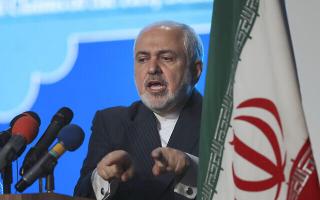 In this February 23, 2021 file photo, Iran's Foreign Minister Mohammad Javad Zarif addresses a conference in Tehran, Iran. (AP Photo/Vahid Salemi, File)