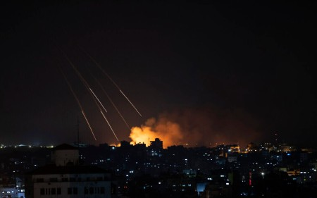 Smoke rises following Israeli missile strikes on Gaza City, Thursday, May 13, 2021. (AP Photo/Khalil Hamra)