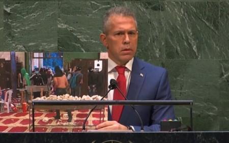 Israel's Ambassador to the UN Gilad Erdan addresses the General Assembly on May 20, 2021. (Screen capture/UN)