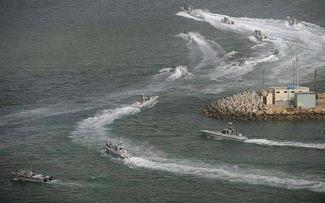 Illustrative: Iranian navy speedboats attend a drill in the sea of Oman, on December 30, 2011.(AP/IIPA, Ali Mohammadi)